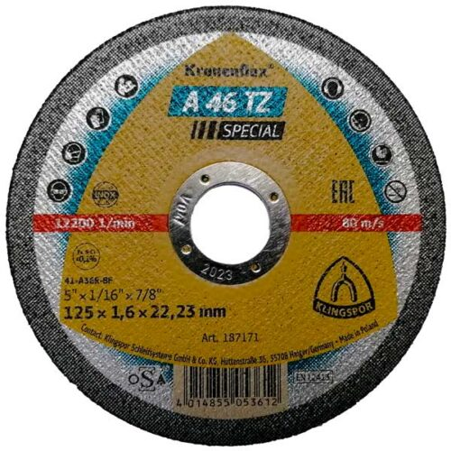 Плоча за Сечење Инокс/Метал Klingspor A 46 TZ 125 mm
