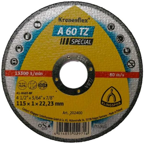 Плоча за Сечење Инокс/Метал Klingspor A 60 TZ 115 mm