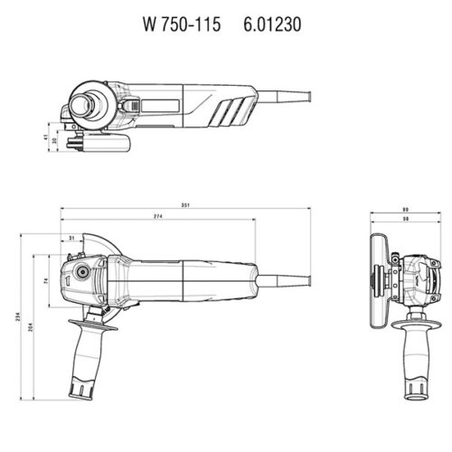 Аголна брусилка METABO W 750-115