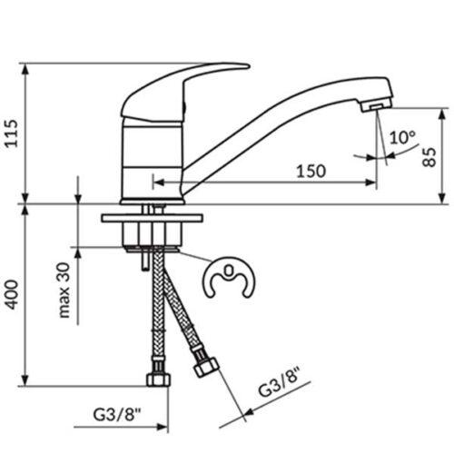 Еднорачна батерија за садопер и умивалник ROSAN JP381081