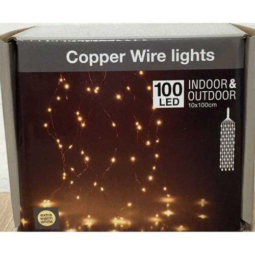 Новогодишни сијалички бакарни Micro LED 100 WW 10x100cm