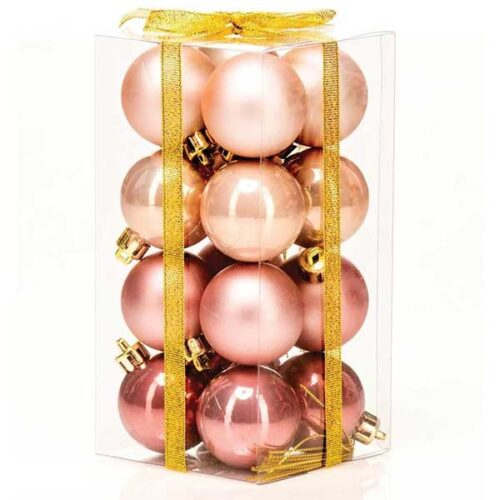 Новогодишни лампиони Розе 16/1 парчиња PVC 40mm