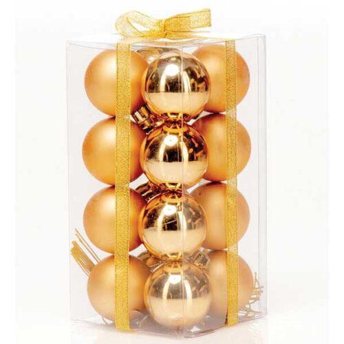 Новогодишни лампиони Златни 16/1 парчиња PVC 40mm