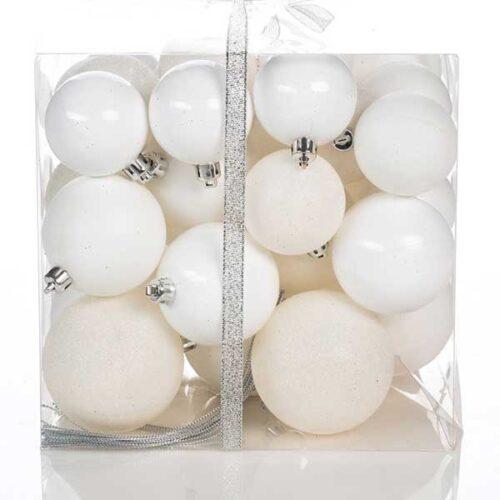Новогодишни лампиони Бели Сет од 36 парчиња PVC