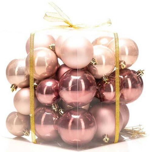 Новогодишни лампиони Розе Сет од 36 парчиња PVC