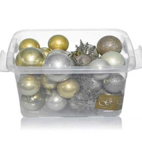 Новогодишни лампиони Златни/Шампањ Сет од 36 парчиња PVC
