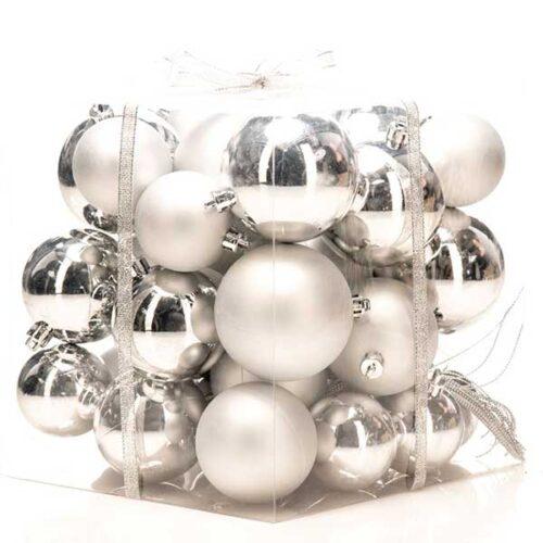 Новогодишни лампиони Сребрени Сет од 36 парчиња PVC