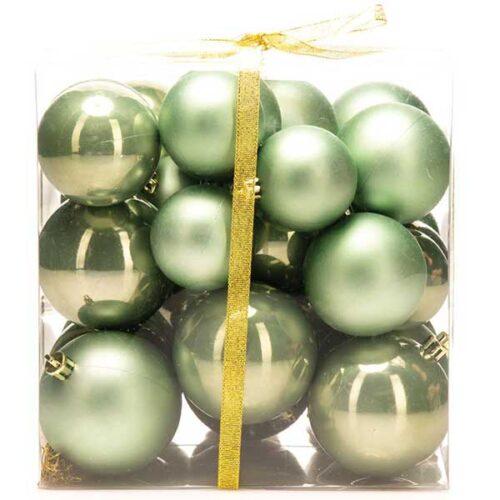 Новогодишни лампиони Зелени Сет од 36 парчиња PVC