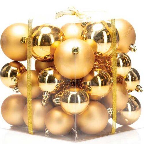 Новогодишни лампиони Златни Сет од 36 парчиња PVC