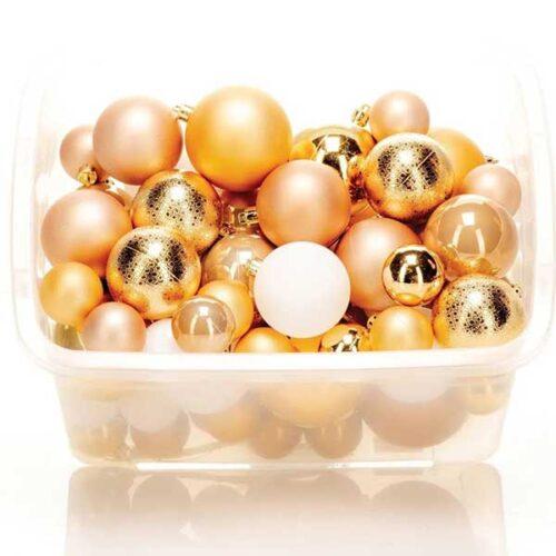 Новогодишни лампиони Златни Сет од 68 парчиња PVC