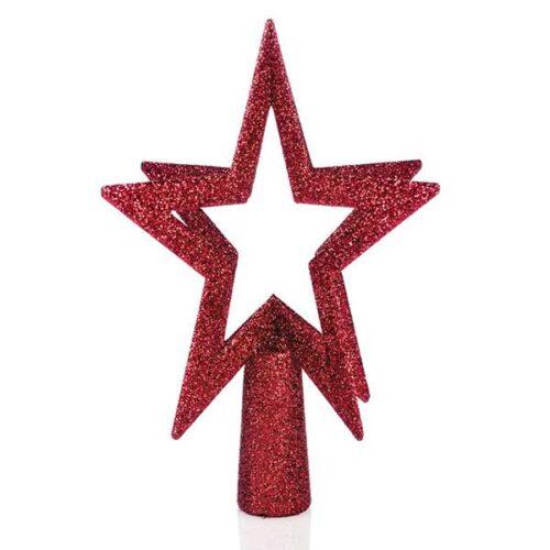Новогодишен врв за елка црвен ѕвезда 200 mm