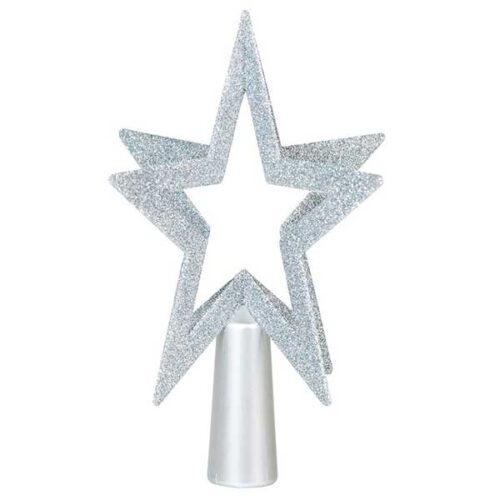 Новогодишен врв за елка сребрен ѕвезда 200 mm